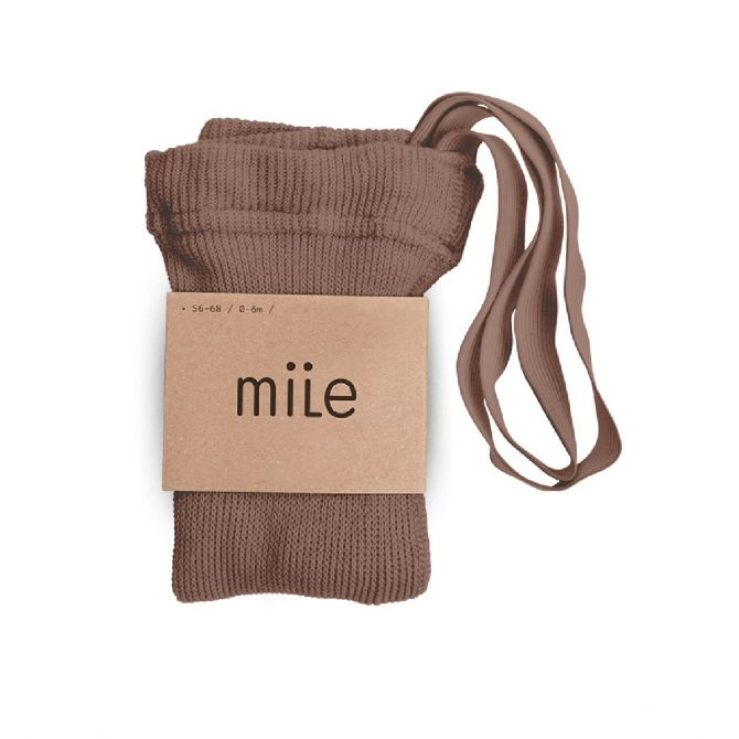 Cotton tights with braces brown - Mile
