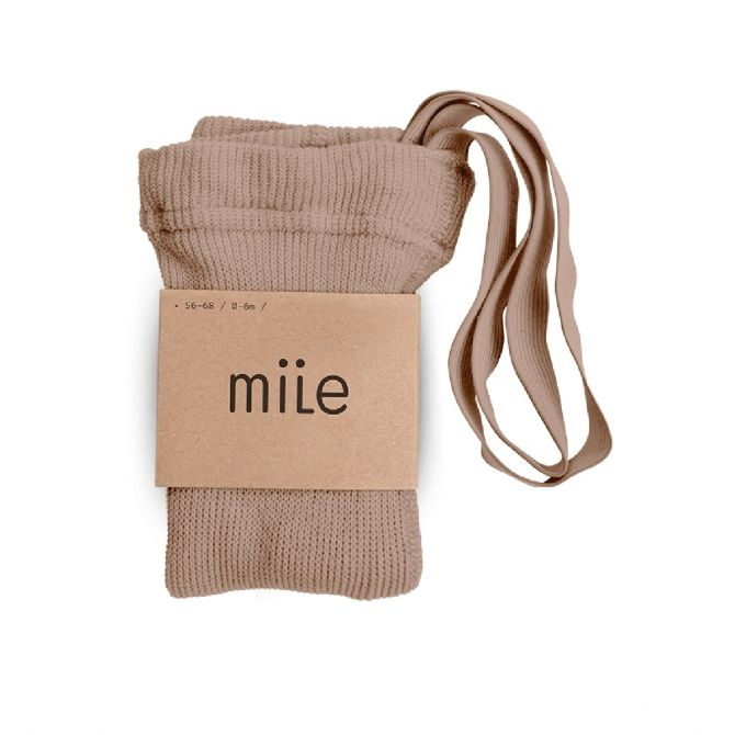 Mile Cotton tights with braces beige
