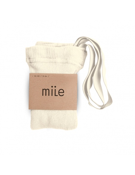 Cotton tights with braces ecru - Mile