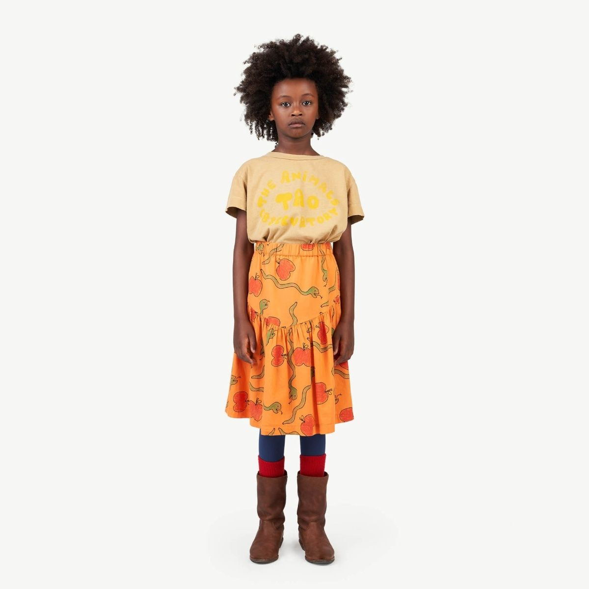 The Animals Observatory Turkey Apples&Snakes skirt orange