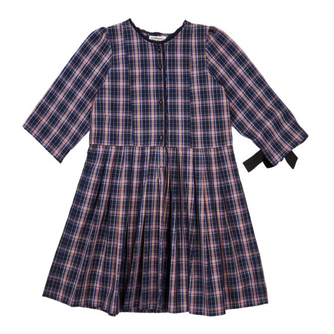 Caramel Baby & Child Dress Medea Navy Check