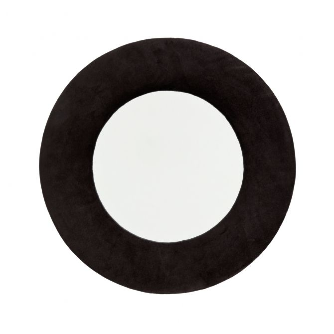 Madam Stoltz Hanging mirror velvet black