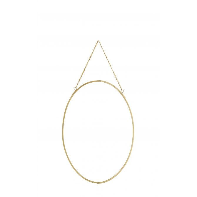 Madam Stoltz Oval hanging mirror gold vertical