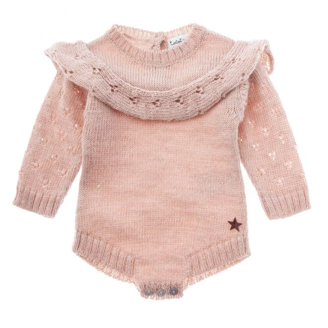 Tocoto Vintage Knitted baby onep pink