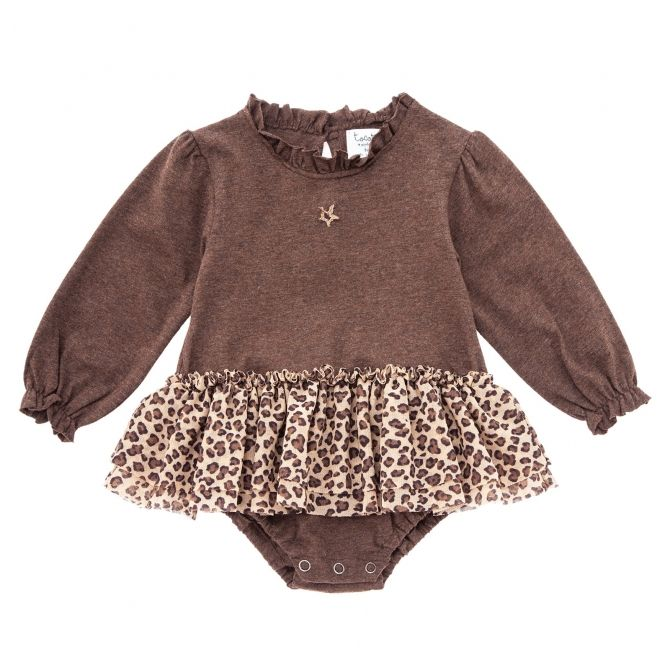 Ruffled neck jersey body brown - Tocoto Vintage