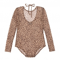 Animal print tulle body brown