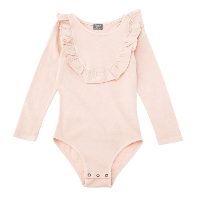 Jersey body with frill pink - Tocoto Vintage