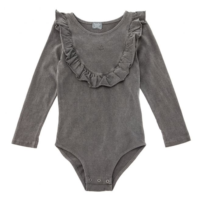 Jersey body with frill grey - Tocoto Vintage