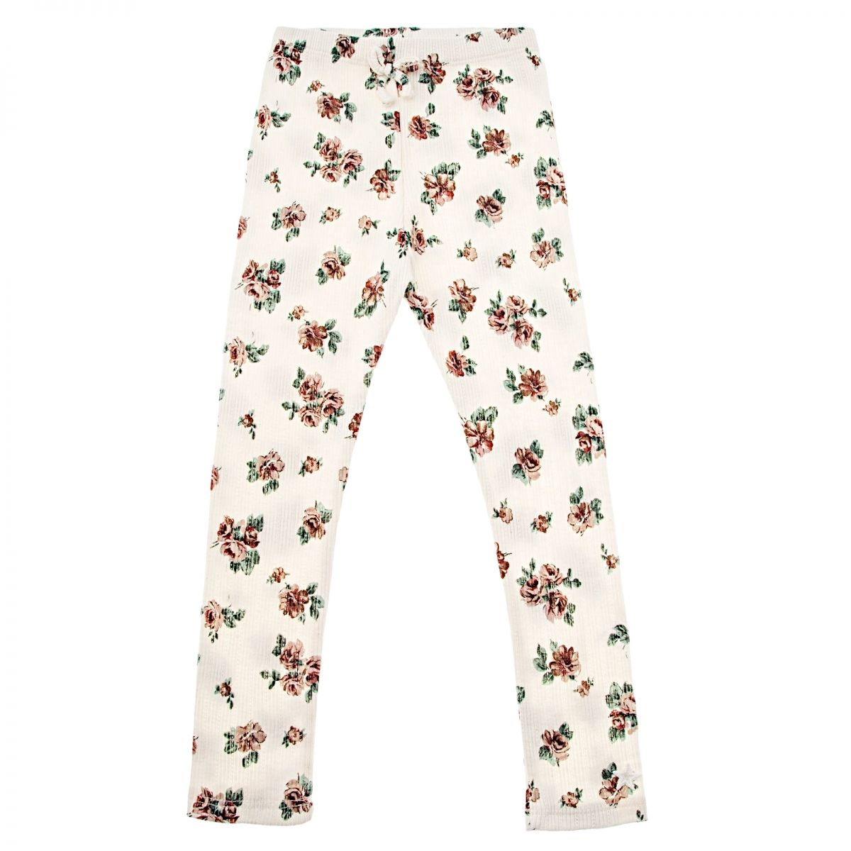 Tocoto Vintage Flower print ribbed trousers off-white