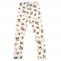 Flower print ribbed trousers off-white