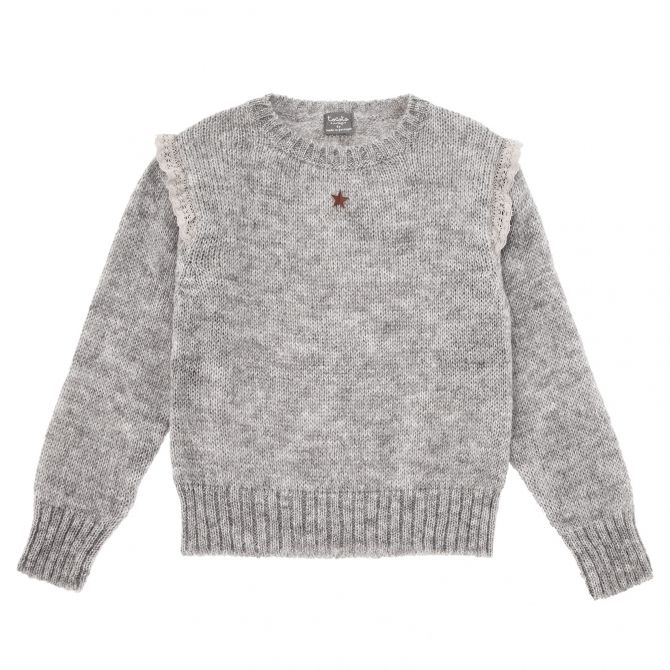 Knitted sweater with frills grey - Tocoto Vintage
