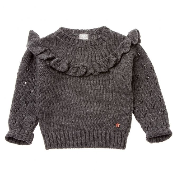 Knitted sweater with frill grey - Tocoto Vintage