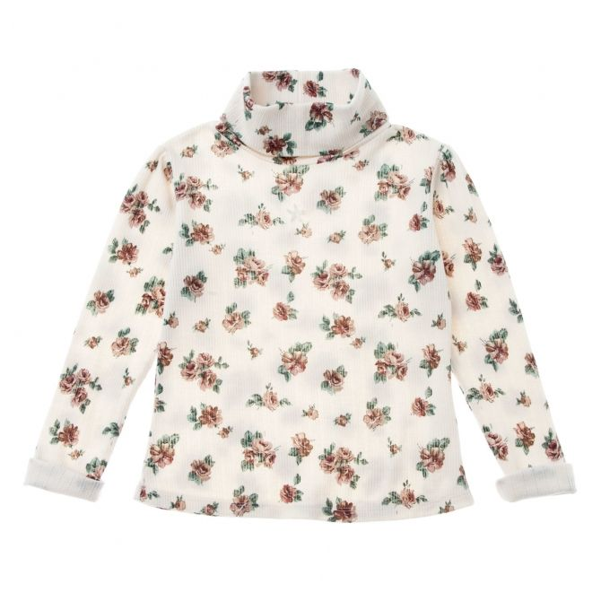 Tocoto Vintage Flower print ribbed blouse off-white