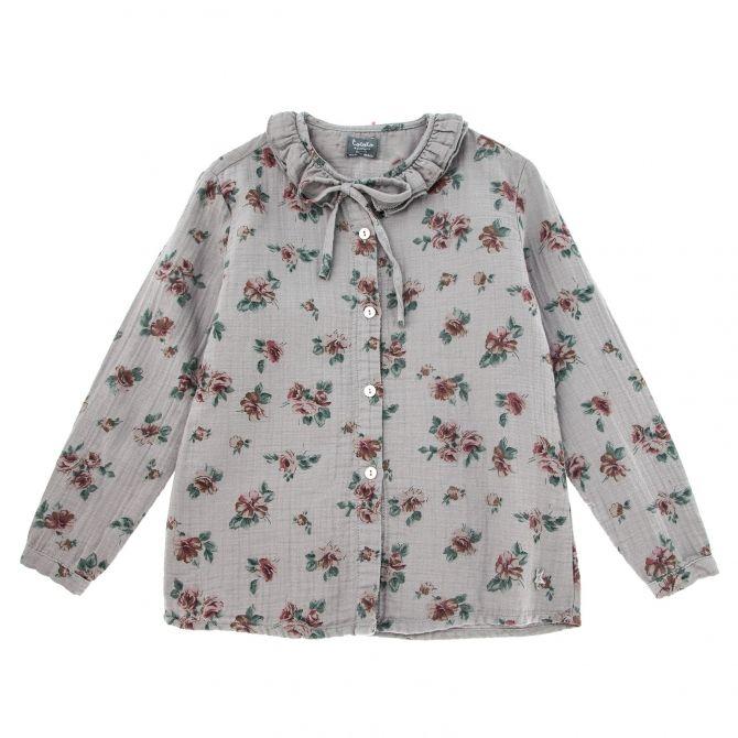 Bluzka flower print szara - Tocoto Vintage
