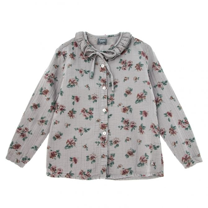 Flower print double ruffle grey - Tocoto Vintage