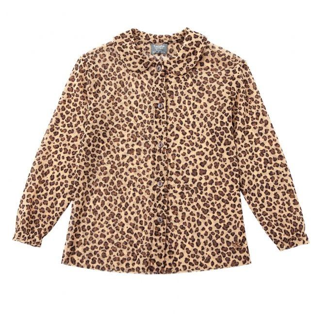 Tocoto Vintage Bluzka animal print tulle brązowa