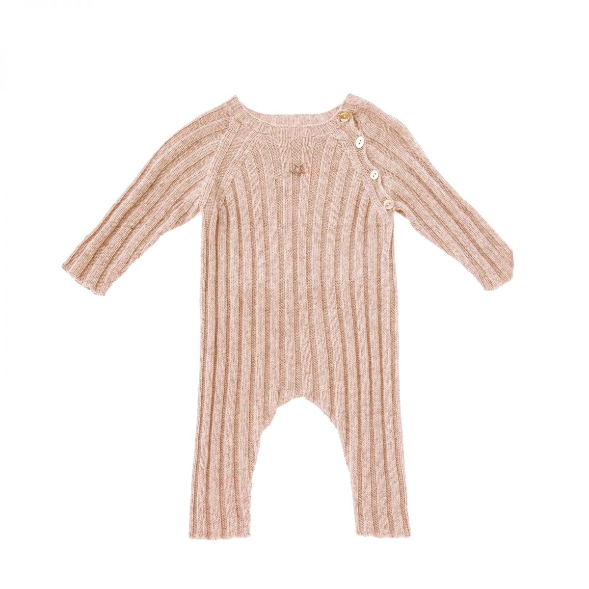 Tocoto Vintage Knitted ribbed rompers pink