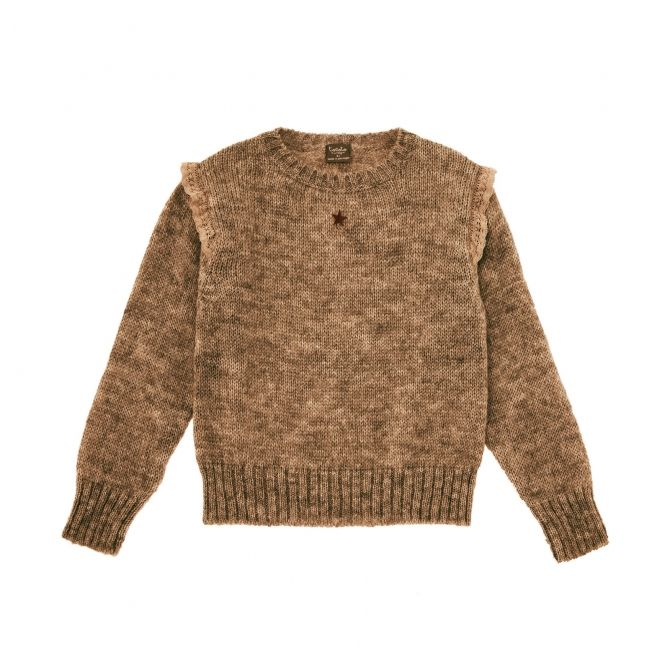 Tocoto Vintage Knitted sweater with frills brown