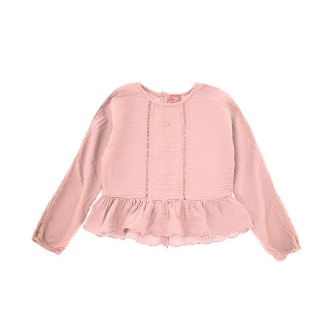 Tocoto Vintage Bluzka oversize z falbanką różowa