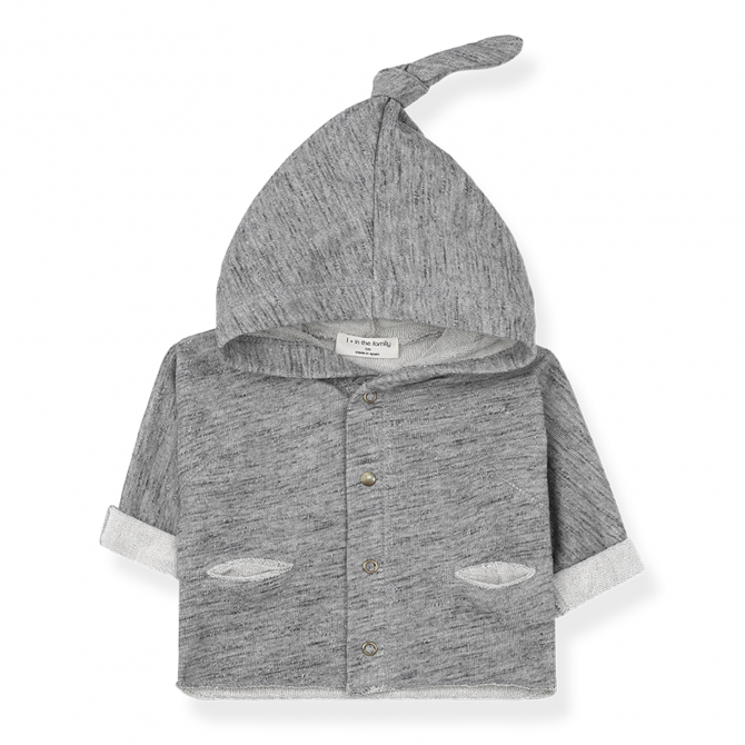 1 + in the family Hood jacket Urus grey melange