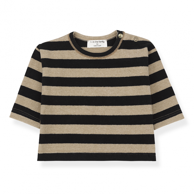 Vienna long sleeve t-shirt black/beige - 1 + in the family