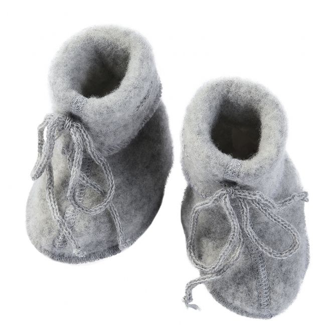 Baby-bootees with ribbon light grey melange - ENGEL
