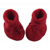 Baby-bootees  with ribbon red melange