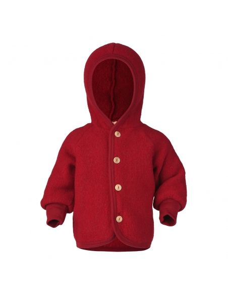 ENGEL Hooded jacket with wooden buttons red melange