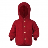 Hooded jacket with wooden buttons red melange