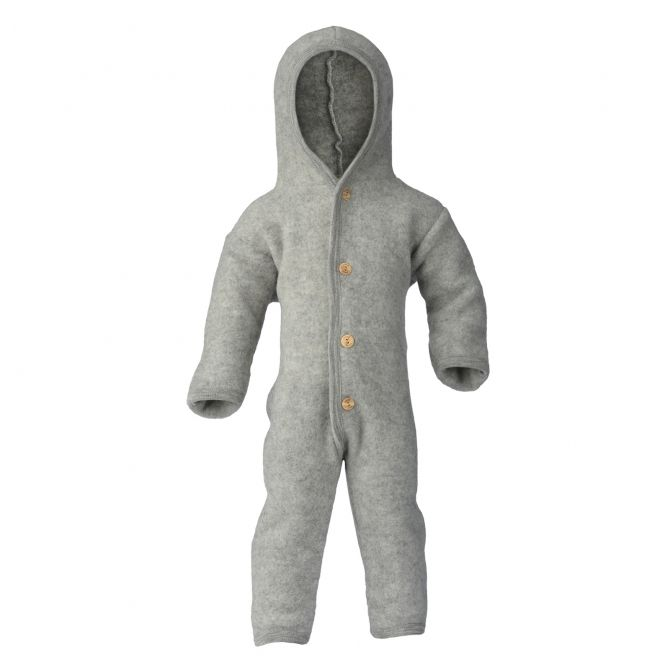 ENGEL Hooded overall with buttons light grey melange