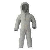 Hooded overall with buttons light grey melange