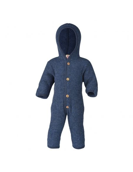ENGEL Hooded overall with buttons blue melange