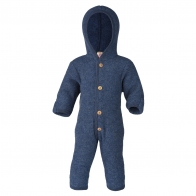 Hooded overall with buttons blue melange