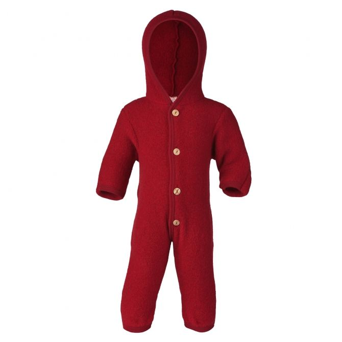 ENGEL Hooded overall with buttons red melange