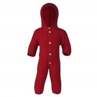 Hooded overall with buttons red melange