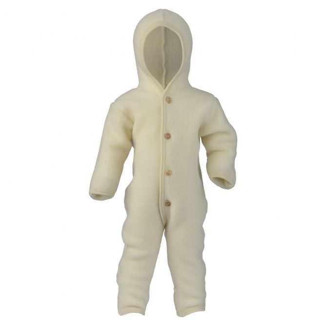 ENGEL Hooded overall with buttons natural