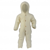 Hooded overall with buttons natural