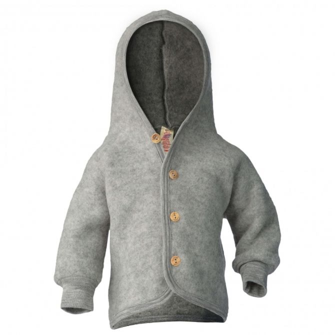 Hooded jacket with wooden buttons light grey melange - ENGEL
