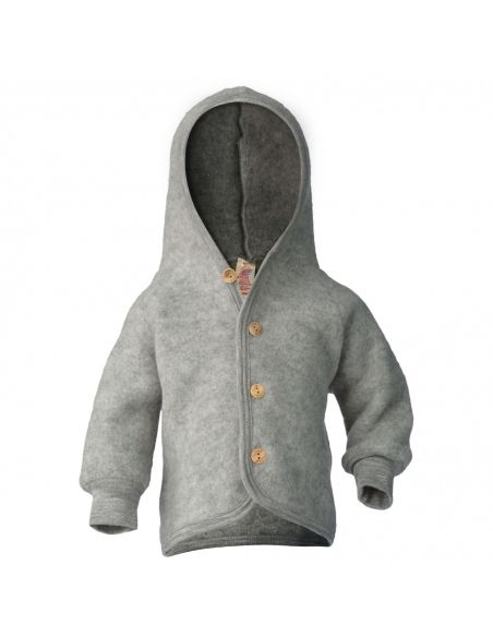 ENGEL Hooded jacket with wooden buttons light grey melange