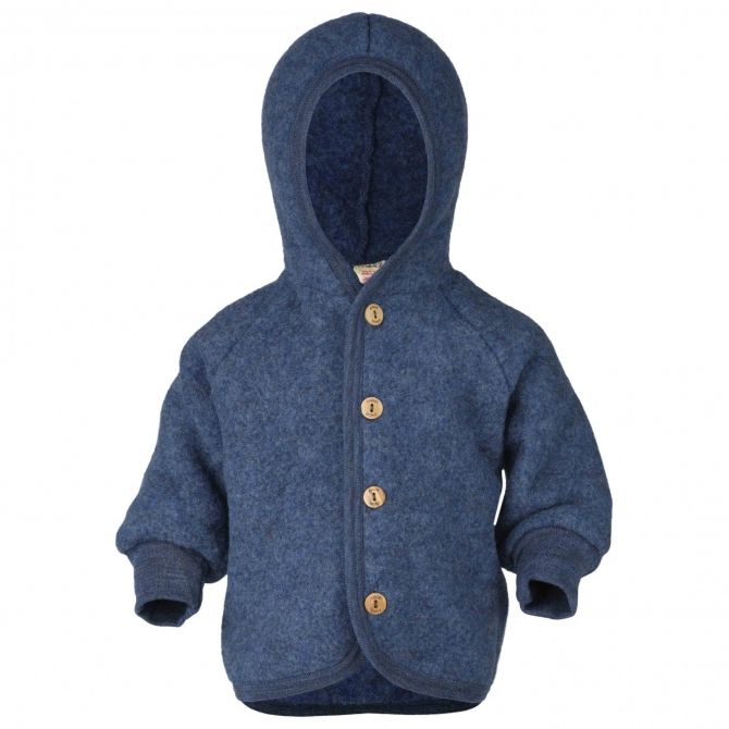 Hooded jacket with wooden buttons blue melange - ENGEL