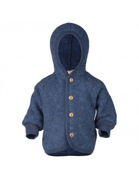 ENGEL Hooded jacket with wooden buttons blue melange