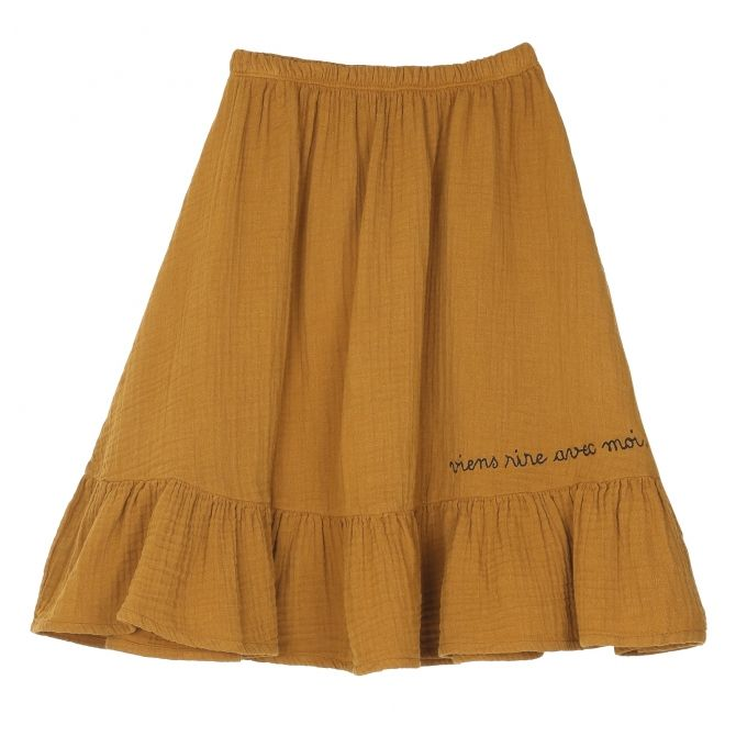 Emile et Ida Skirt Longue Double Face curry mustard