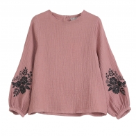 Blouse Embroidered Chataigne pink