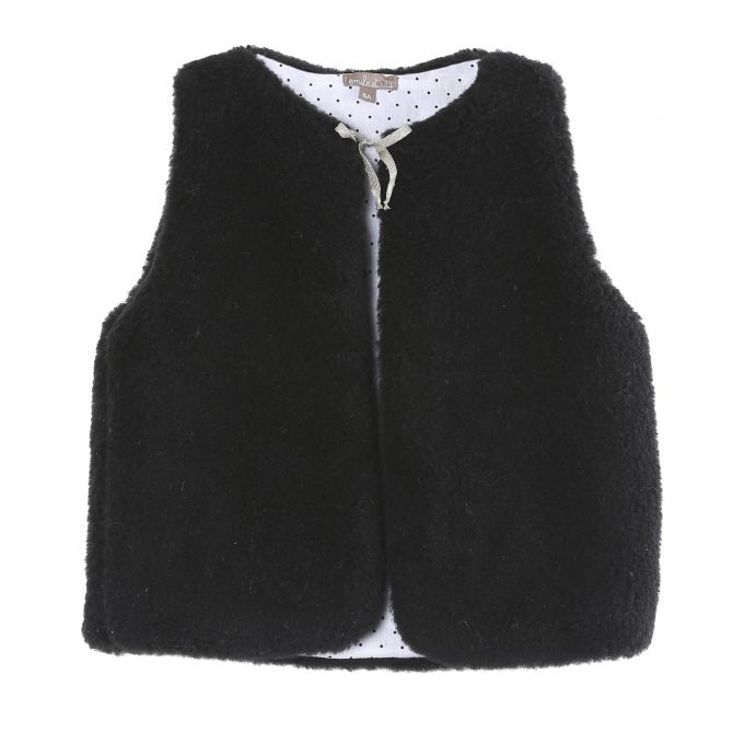 Jacket without sleeves merinos wool black - Emile et Ida