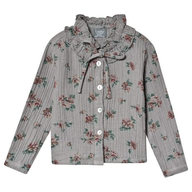 Tocoto Vintage Flower print double ruffle grey