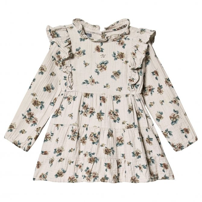Tocoto Vintage Flower print dress wirh frills grey