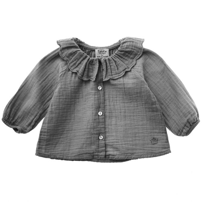 Plain blouse with flounce grey