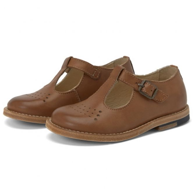 Young Soles T-bar Shoe Dottie Burnished Leather brown