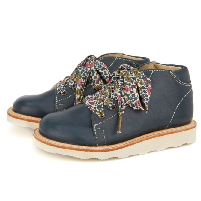 Hattie Monkey Boot with lace navy blue - Young Soles