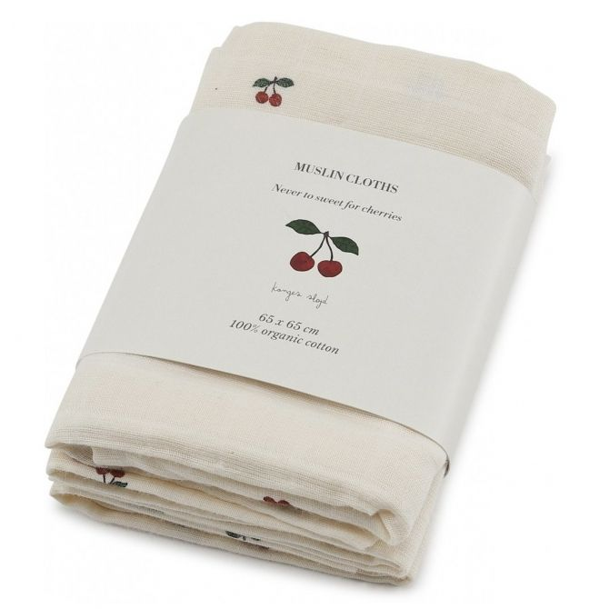 3 pack Muslin Cloth cherry - Konges Slojd